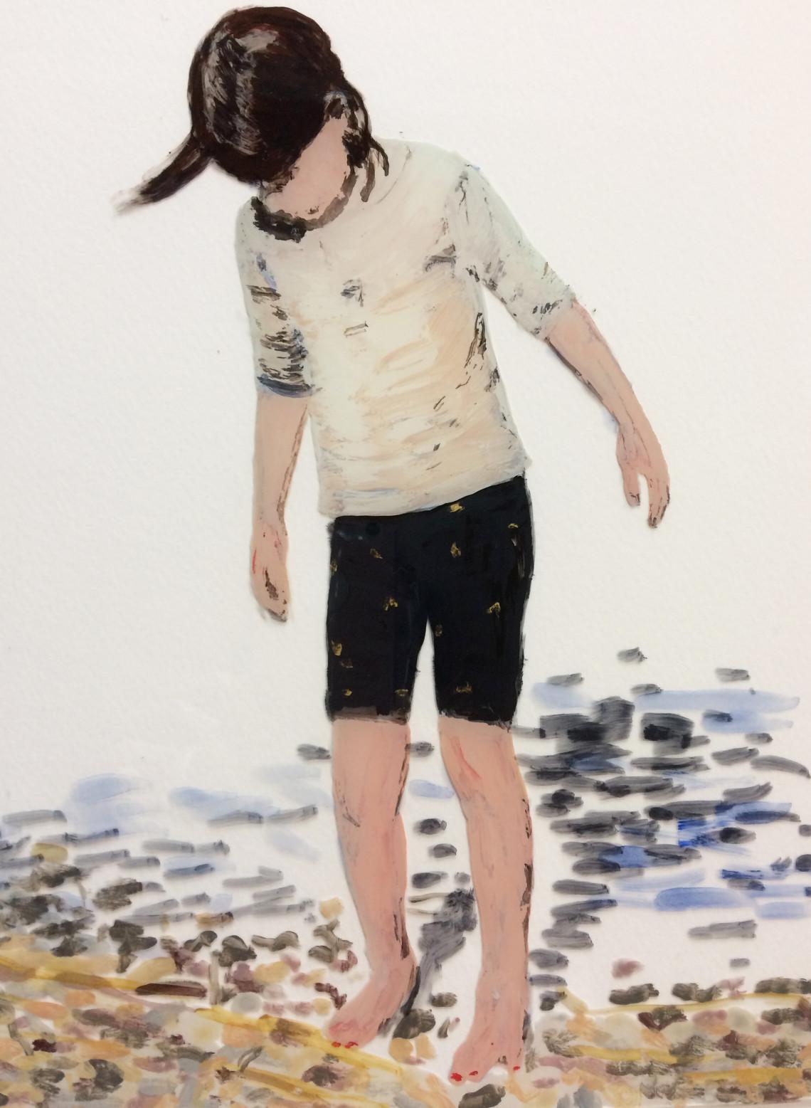 Stella, 2021, Hinterglasmalerei/ Acryl auf Glasplatte, 18 x 24 cm