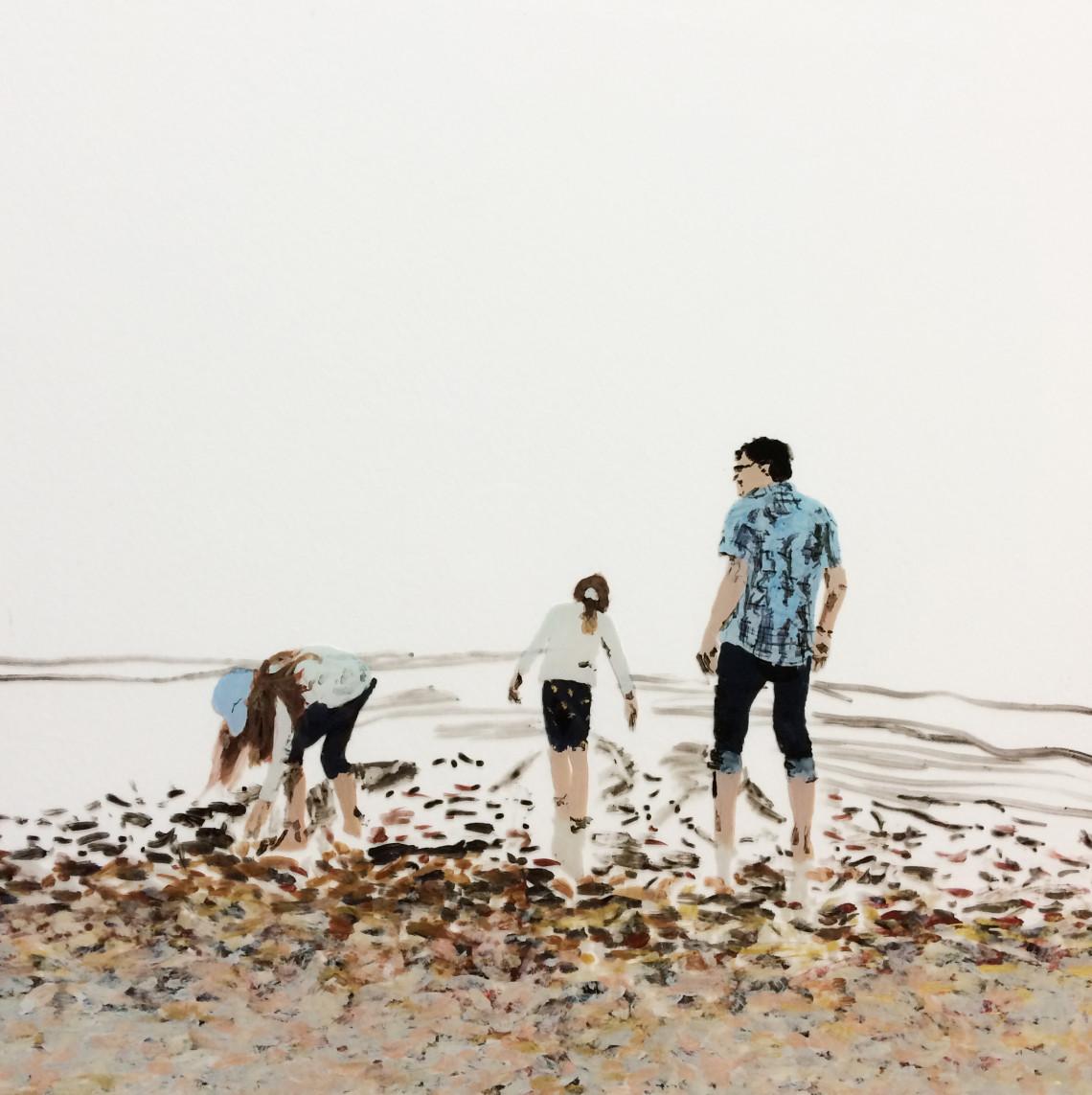 Familie, 2021, Hinterglasmalerei/ Acryl auf Glasplatte, 24 x 24 cm