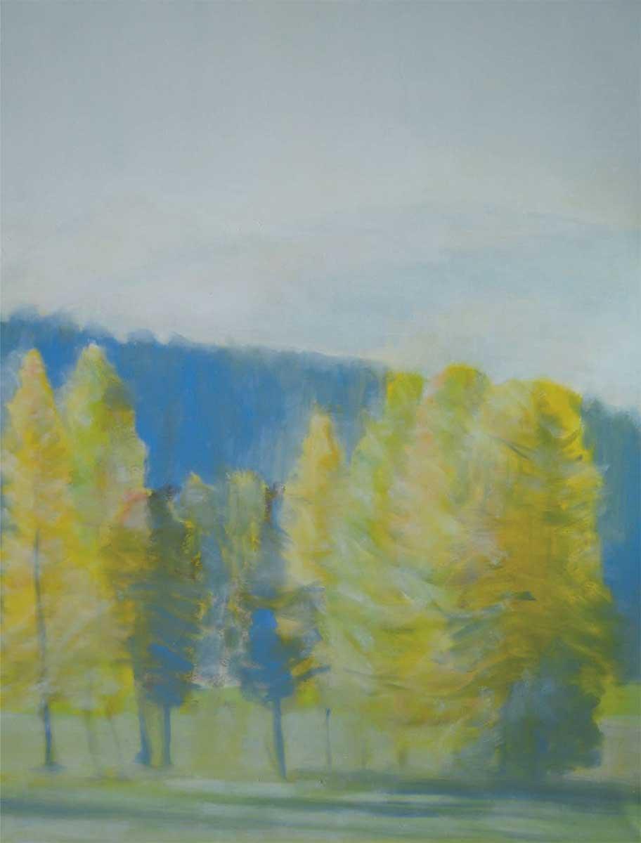 Blick in Richtung Fextal, Ölfarbe auf Leinwand, 90/116 cm, 2012/ Kunstkarten erhältlich über mich oder Ch. Fümm, 7514 Sils-Maria