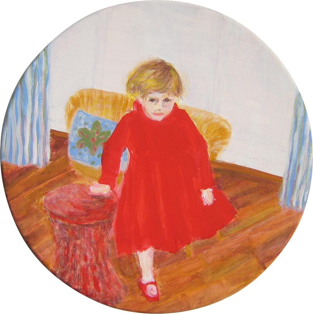 Geburtstag, Gouache auf Leinwand, Durchmesser 30 cm, 2012